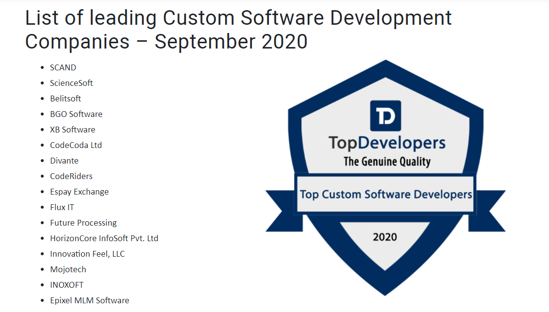 The most efficient software development companies by TopDevelopers.co
